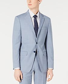 Calvin Klein Men's X-Fit Slim-Fit Light Blue Sharkskin Suit Jacket