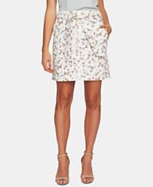 CeCe Floral-Print Belted Skirt