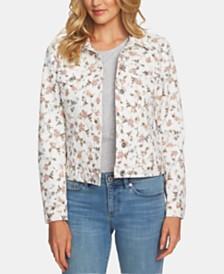 CeCe Floral-Print Trucker Jacket