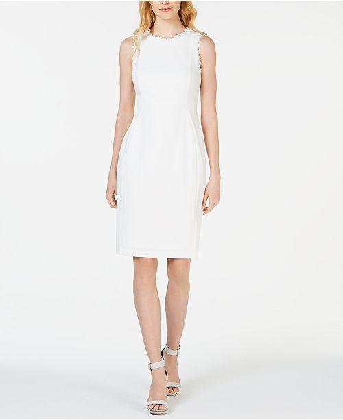 ef4881cd6af Calvin Klein Lace-Trim Sheath Dress   Reviews - Dresses - Women - Macy s