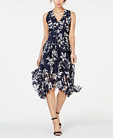 Taylor Printed Lace Handkerchief-Hem Dress