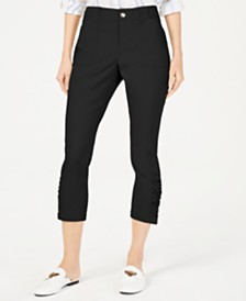 I.N.C. Ruched-Hem Cropped Pants, Created for Macy's