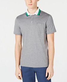 Calvin Klein Men's Liquid Touch Contrast Collar Pocket Polo Shirt