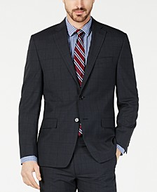 Men's Classic-Fit UltraFlex  Stretch Charcoal Windowpane Suit Jacket
