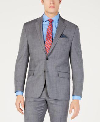 Men's Classic-Fit UltraFlex  Stretch Gray/Blue Windowpane Suit Jacket