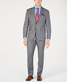 Men's Classic-Fit UltraFlex  Stretch Gray/Blue Windowpane Suit Separates