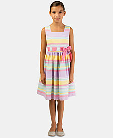 Bonnie Jean Big Girls Linen-Look Striped Dress