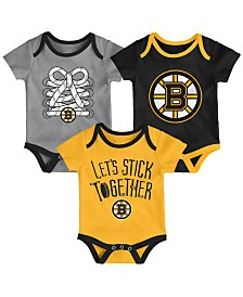 Outerstuff Boston Bruins Five On Three Creeper 3 Pc Set, Infants (0-9 Months)
