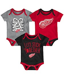 Outerstuff Detroit Red Wings Five On Three Creeper 3 Pc Set, Infants (0-9 Months)