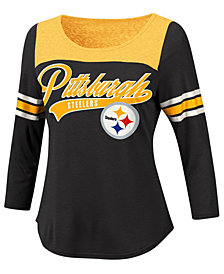 G-III Sports Women's Pittsburgh Steelers Sleeve Stripe Raglan T-Shirt