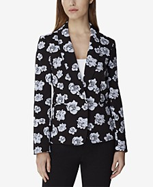 Floral Jacquard Single-Button Jacket