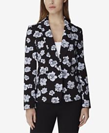 Tahari ASL Floral Jacquard Single-Button Jacket