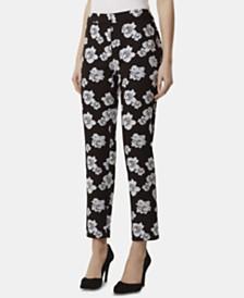 Tahari ASL Floral Jacquard-Print Pants