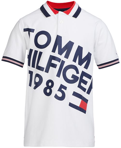 2c37fad7 Tommy Hilfiger Big Boys Slanted Logo Polo & Reviews - Shirts & Tees ...