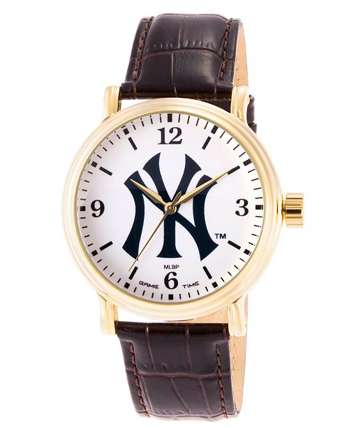 ewatchfactory Gametime MLB New York Yankees Men's Shiny Gold Vintage Alloy Watch