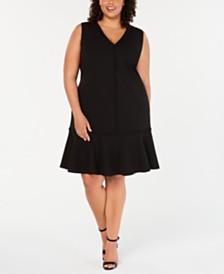 Calvin Klein Plus Size Ruffle-Hem A-Line Dress
