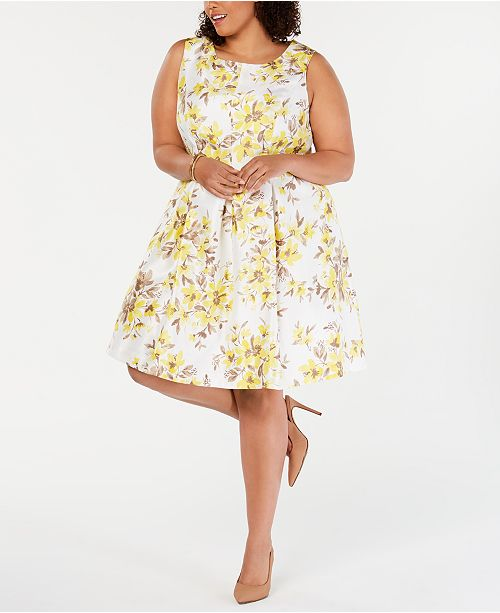 ca48272ade35 Jessica Howard Plus Size Floral-Print Fit & Flare Dress & Shrug ...