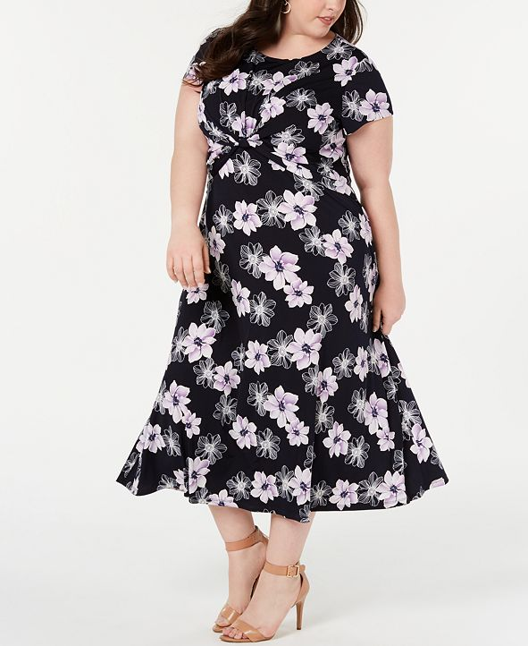 Jessica Howard Plus Size Twisted Midi Dress