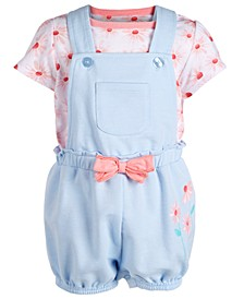 Baby Girls 2-Pc. Top & Striped Shortall Set, Created for Macy's