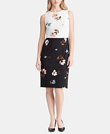 Lauren Ralph Lauren Petite Two-Tone Floral-Print Crepe Dress