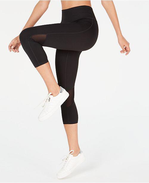 Calvin Klein Cropped Mesh-Inset Leggings