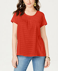 Style & Co. Mixed-Print T-Shirt, Created for Macy's