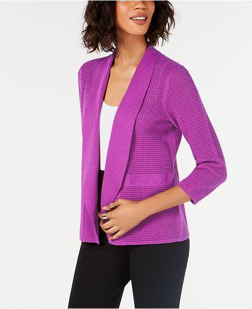 Alfani Open-Knit Linen-Blend Cardigan, Created for Macy's