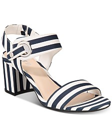 Bar III Birdie City Two-Piece Block-Heel Sandals, Created for Macy's