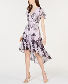 Vince Camuto Flutter-Sleeve High-Low Midi Dress