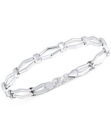 Polished Open Link Bracelet in 10k White Gold