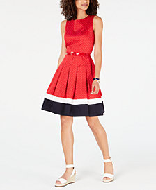 Tommy Hilfiger Colorblocked Fit & Flare Dress, Created for Macy's