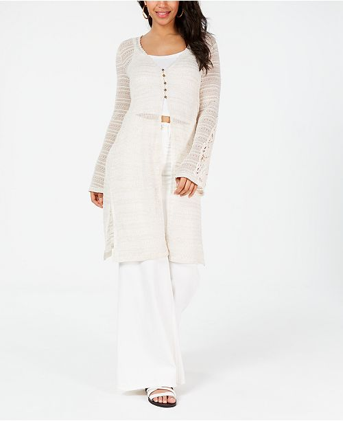 American Rag Juniors' Crochet-Trimmed Open-Knit Duster Cardigan, Created for Macy's