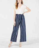 fc1d5b0153d Monteau Petite Short-Sleeve Mixed-Media Jumpsuit