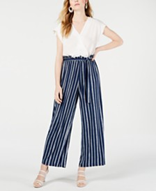 Monteau Petite Short-Sleeve Mixed-Media Jumpsuit