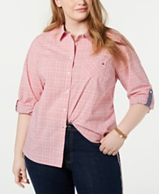Tommy Hilfiger Plus Size Checkered Cotton Roll-Tab Shirt, Created for Macy's