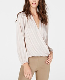 I.N.C. Striped Surplice Blouse, Created for Macy's
