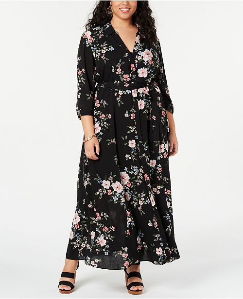 I.N.C. Plus Size Floral-Print Shirtdress, Created for Macy\'s