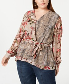 I.N.C. Plus Size Peplum Wrap Top, Created for Macy's