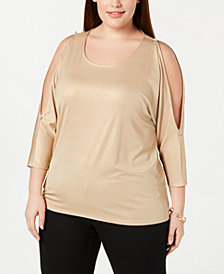 I.N.C. Plus Size Embellished Cold-Shoulder Top, Created for Macy's