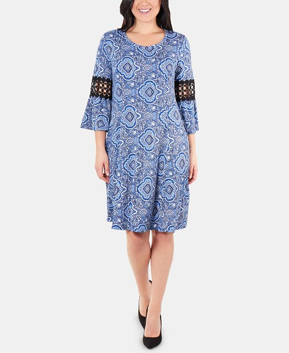 NY Collection Petite Crochet-Trimmed Bell-Sleeve Dress