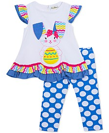 Rare Editions Baby Girls 2-Pc. Bunny Top & Dot-Print Leggings Set
