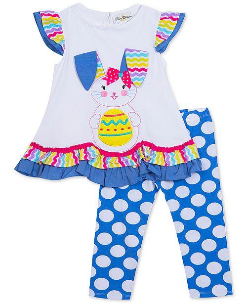Rare Editions Baby Girls 2-Pc. Bunny Top & Dot-Print Leggings Set