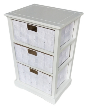 3 Drawer White Wood Cabinet