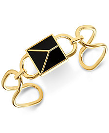 Michael Kors Gold-Tone Sterling Silver Black Stone Padlock Cuff Bracelet