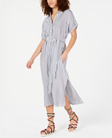 Crystal Doll Juniors' Striped Midi Shirtdress