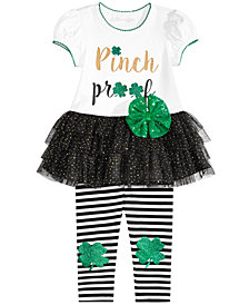 Bonnie Baby Baby Girls 2-Pc. Shamrock Tutu Tunic & Striped Leggings Set