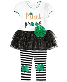 Bonnie Baby Baby Girls 2-Pc. Shamrock Tutu Tunic & Striped Leggings Set