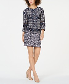 Vince Camuto Printed Jersey-Knit Shift Dress