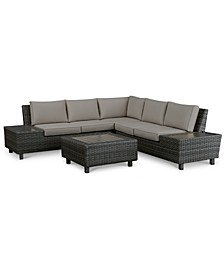 Lake Toba Aluminum Outdoor 4-Pc. Sectional Seating Set (1 Left Sectional Unit, 1 Corner Unit, 1 Right Sectional Unit & 1 Coffee Table), Created for Macy's