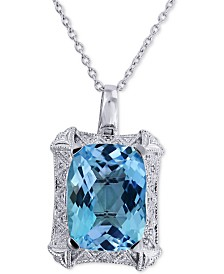 Blue Topaz(25 ct. t.w.) & Diamond(1/10 ct t.w.) Pendant Necklace in Sterling Silver